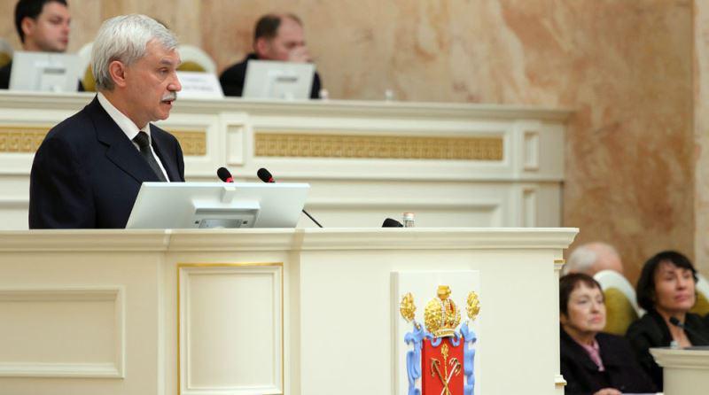 Губернатор Петербурга представил Законодательному Собранию проект бюджета наследующий год